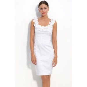 Maggy London White Jacquard Ruffle Dress Size 4
